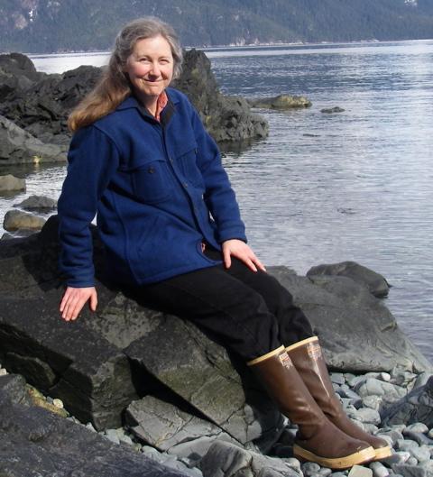 Michelle models the height of Southeast Alaskan wear.