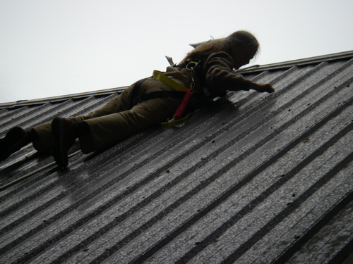 cleaning the roof seams