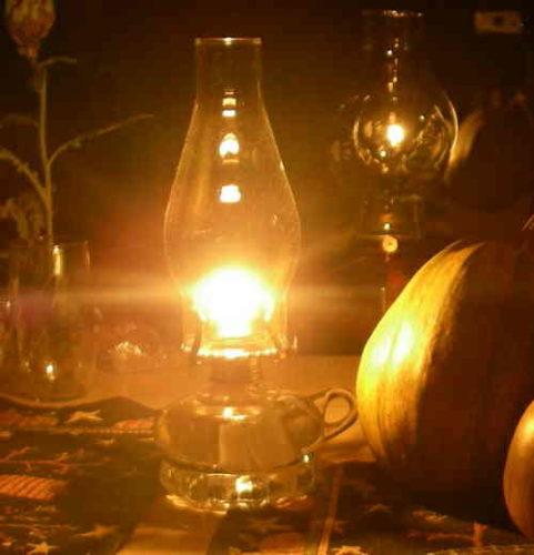 Oil lamp in autumn decor