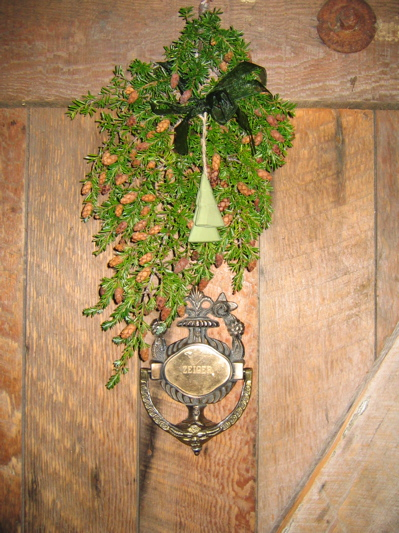 The homestead's door at Christmas time