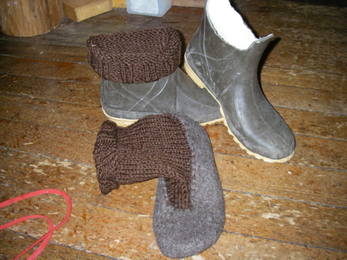 homemade felted bootliners