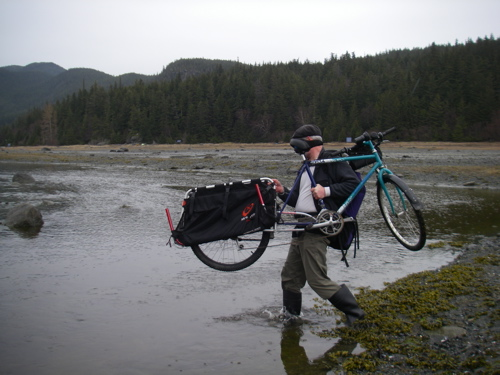 fording the stream with my Xtracycle