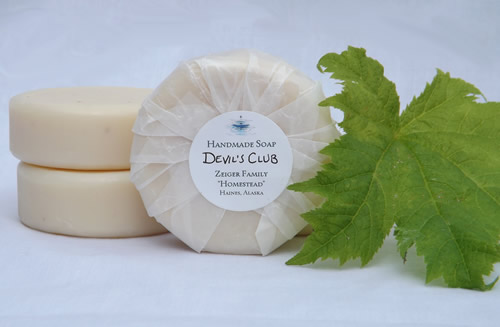 Our homemade devil's club soap, currently a rare commodity! (Photo: Mark A. Zeiger).