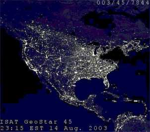 A satellite image of the northeastern U.S. taken by the Defense Meteorological Satellite Program on Aug. 14, 2003 at 9:03 p.m., when a blackout affected 50 million people. (Image: NOAA/DMSP.)