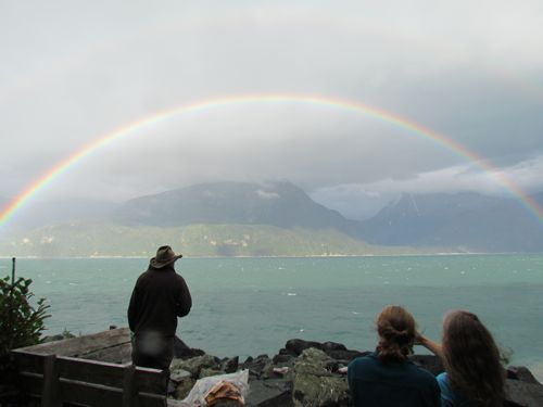 Double rainbow over Lynn Canal: what better way to test swing repairs? (Photo: Mark A. Zeiger).