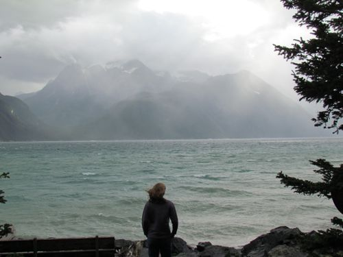 Aly checks out a rain squall against the far shore (Photo: Mark A. Zeiger)
