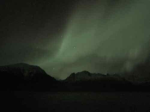"""Look Ma, no tripod!"" Aurora Borealis over The Mountain With No Name, Lynn Canal, Alaska (Photo: Mark A. Zeiger)."