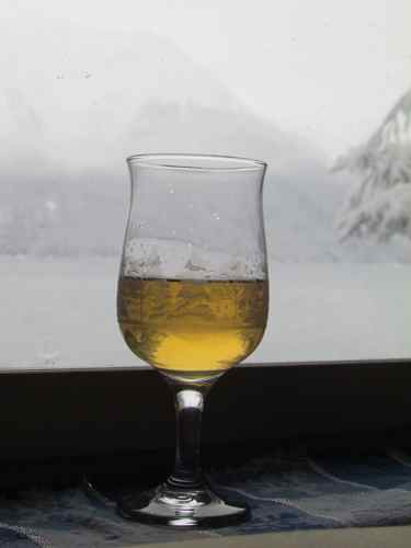 A glass of Chateau de Zeiger Birch 2013 for a cold winter's day (Photo: Mark A. Zeiger).
