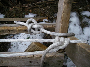 """The bowline (top) is called """"the king of knots"""" but I owe my allegiance to the rolling hitch (bottom). (Photo: Mark Zeiger.)"""