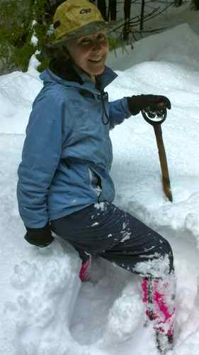 Thigh deep, with snowshoes on! (Photo: Mark A. Zeiger).