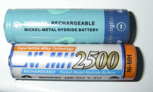 Two different NiMH AA batteries (Photo: Mark A. Zeiger).