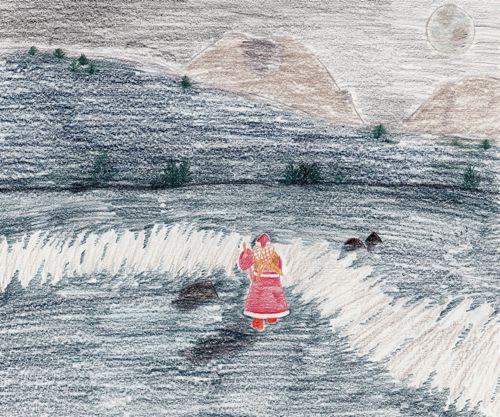 Santa crosses Mud Bay (artwork (c) 2010 Sarah A. Zeiger).