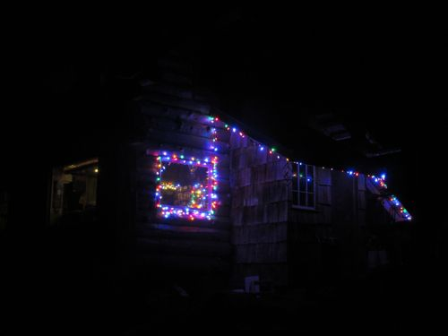 This year's lights on the cabin (Photo: Mark A. Zeiger).