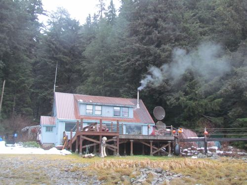 Another lodge view. Those are humpback whale bones in front (Photo: Mark A. Zeiger).
