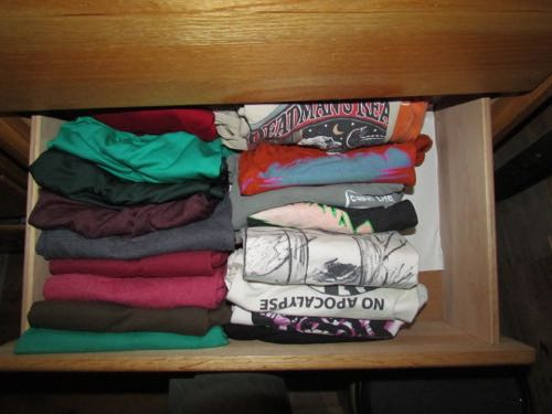 A peek into my drawers! A newly tidy T-shirt drawer (Photo: Mark A. Zeiger).