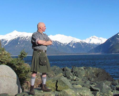Mark's homemade kilt: good for homestead chores, simply grand for striking heroic poses (Photo: Michelle L. Zeiger).
