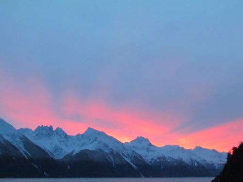 Christmas Eve sunrise above the Coast Range. Red sky at morning, homesteader's take warning . . . of a white Christmas, perhaps? (Photo: Mark A. Zeiger).