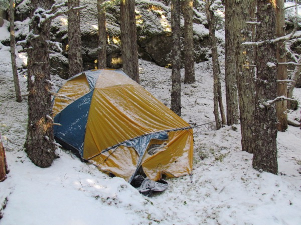 tent in the snow