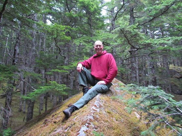 Mark sitting on a rock